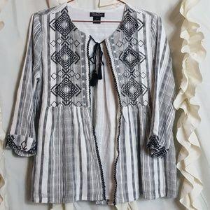 Lucky Brand embroidered half sleeve boho jacket